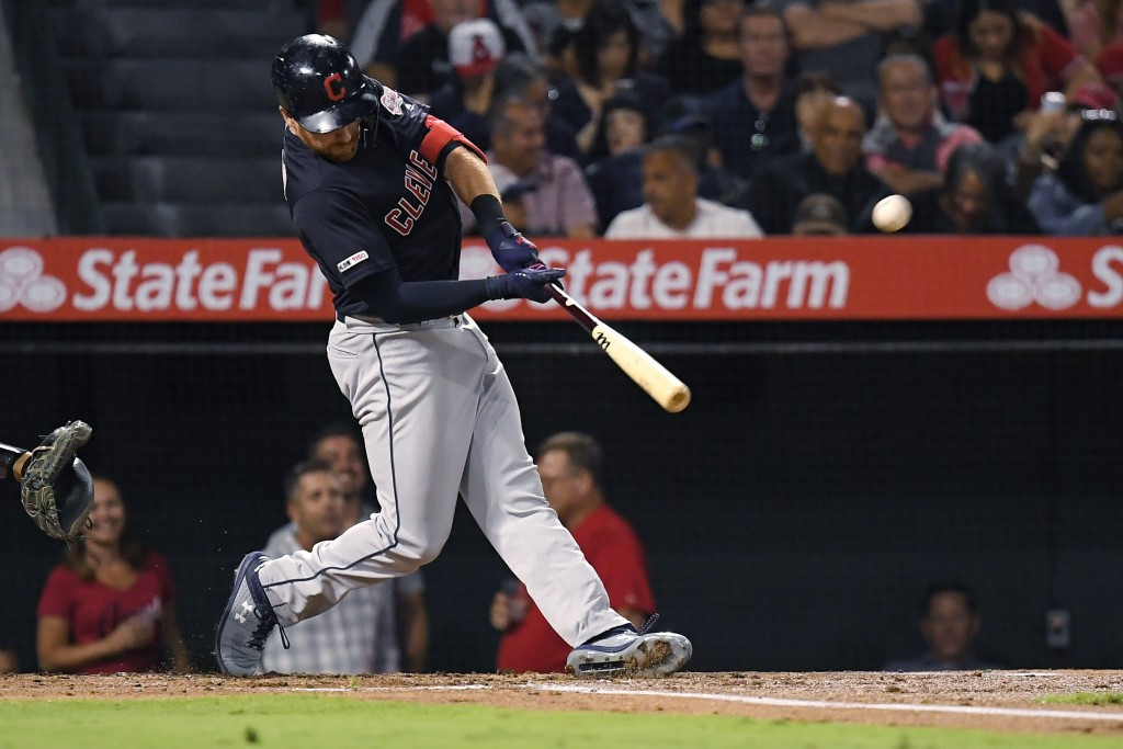 Cleveland Indians' Jordan Luplow hits a two-run home run during the second inning of a baseball game against the Los Angeles Angels on Tuesday, Sept.