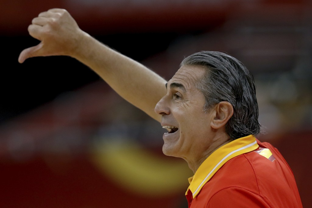 Head coach Sergio Scariolo of Spain gestures during their quarterfinals match against Poland in the FIBA Basketball World Cup, at the Shanghai Orienta...