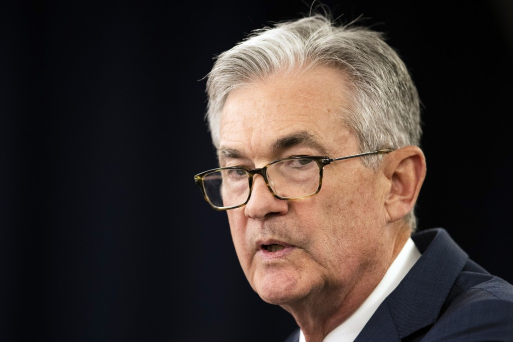 FILE - In this July 31, 2019, file photo Federal Reserve Chairman Jerome Powell speaks during a news conference following a two-day Federal Open Marke...