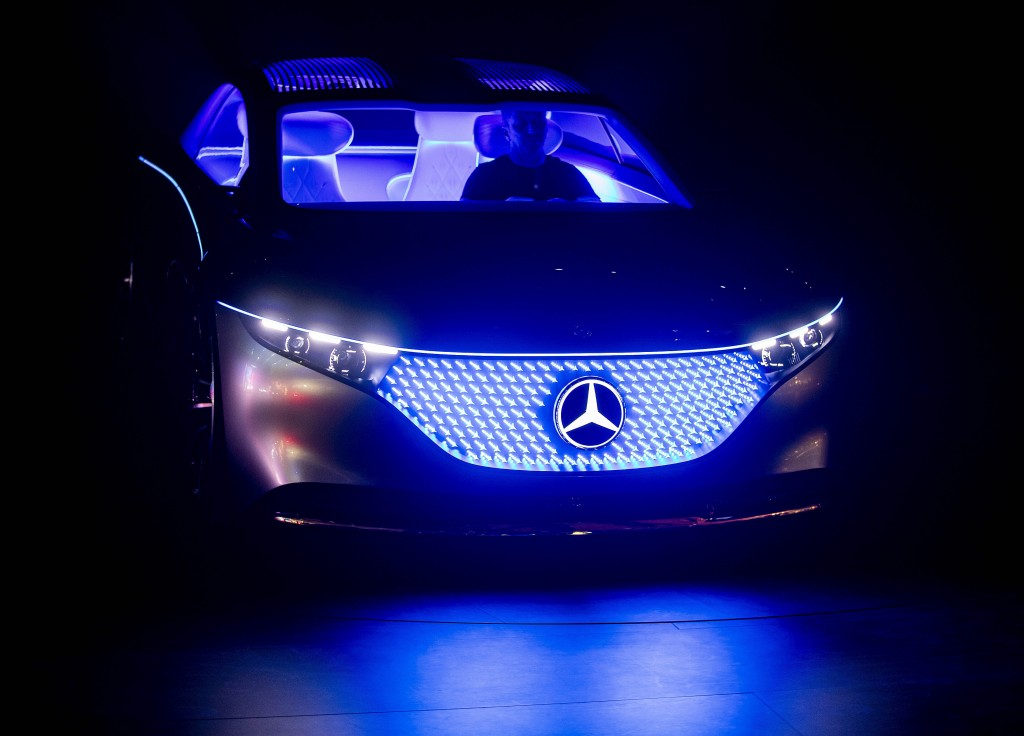 A Mercedes 'Vision EQS' car is displayed at the IAA Auto Show in Frankfurt, Germany, Wednesday, Sept. 11, 2019. (AP Photo/Michael Probst)