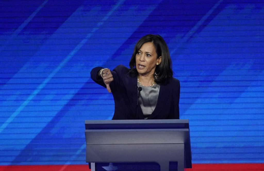 Sen. Kamala Harris, D-Calif., responds to a question Thursday, Sept. 12, 2019, during a Democratic presidential primary debate hosted by ABC at Texas ...