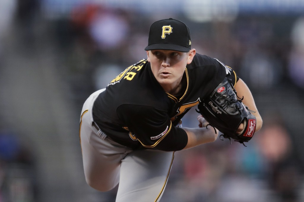 Pittsburgh Pirates pitcher Mitch Keller works against the San Francisco Giants during the first inning of a baseball game Tuesday, Sept. 10, 2019, in ...