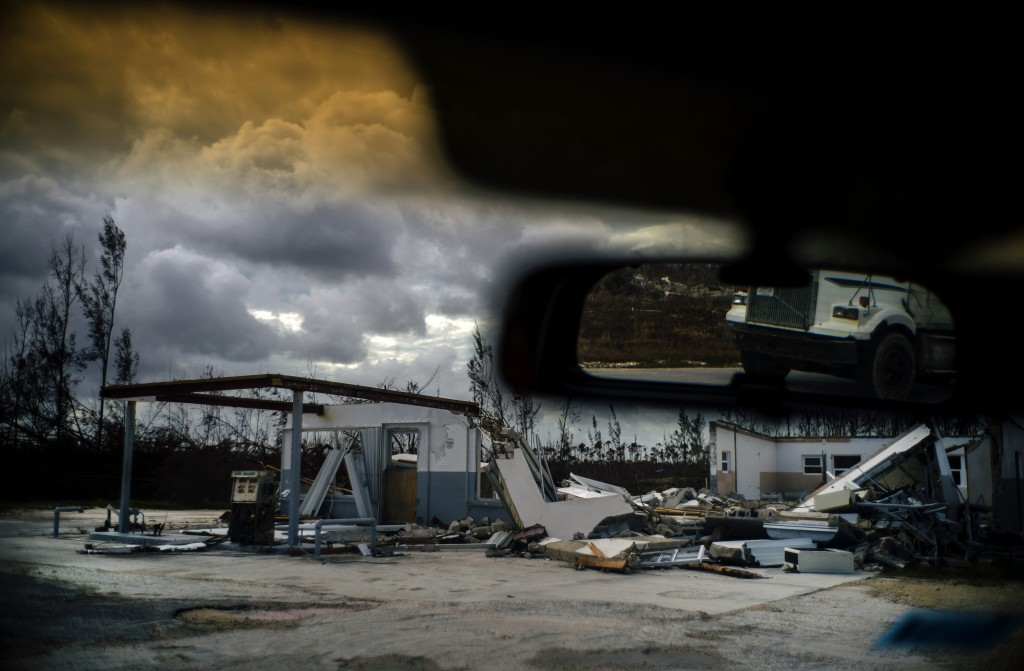 A shattered gas station is seen at the aftermath of Hurricane Dorian in Freetown Grand Bahama Bahamas Friday Sept. 13 2019. (AP