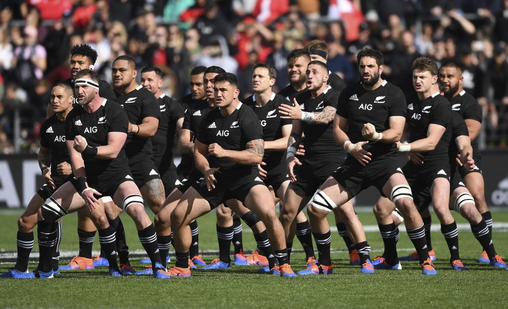 The All Blacks perform their haka ahead of their rugby test match against Tonga in Hamilton, New Zealand, Saturday, Sept. 7, 2019. (Andrew Cornaga/Pho...