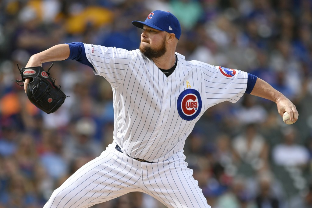 Chicago Cubs starter Jon Lester delivers a pitch during the first inning of a baseball game against the Pittsburgh Pirates, Friday, Sept. 13, 2019, in