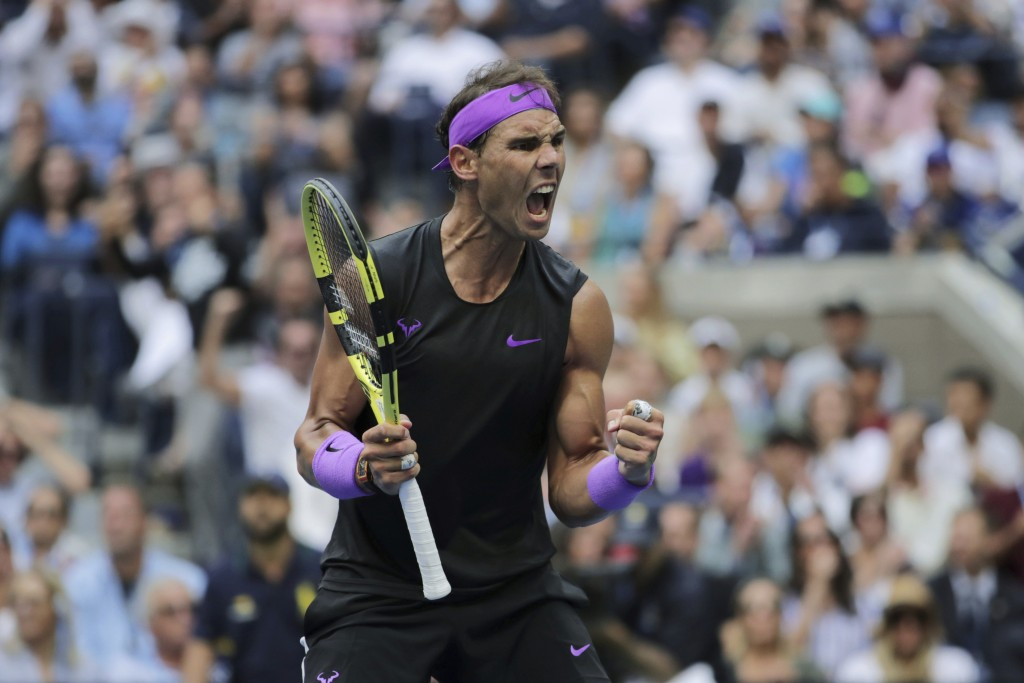 Rafael Nadal, of Spain, reacts after scoring a point against Daniil Medvedev, of Russia, during the men's singles final of the U.S. Open tennis champi