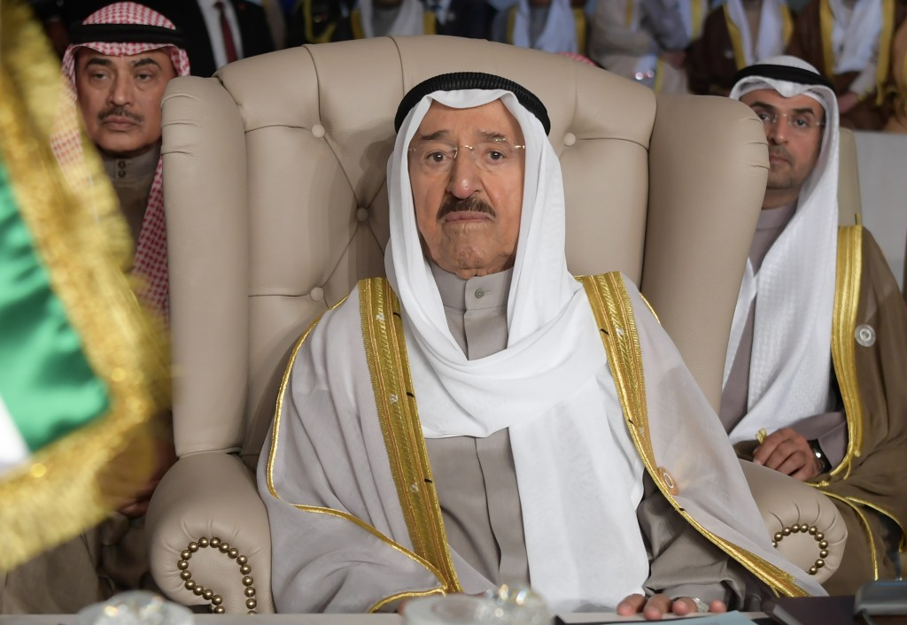 FILE - In this March 31, 2019 file photo, Kuwait's ruling emir, Sheikh Sabah Al Ahmad Al Sabah, attends the opening of the 30th Arab Summit, in Tunis,...