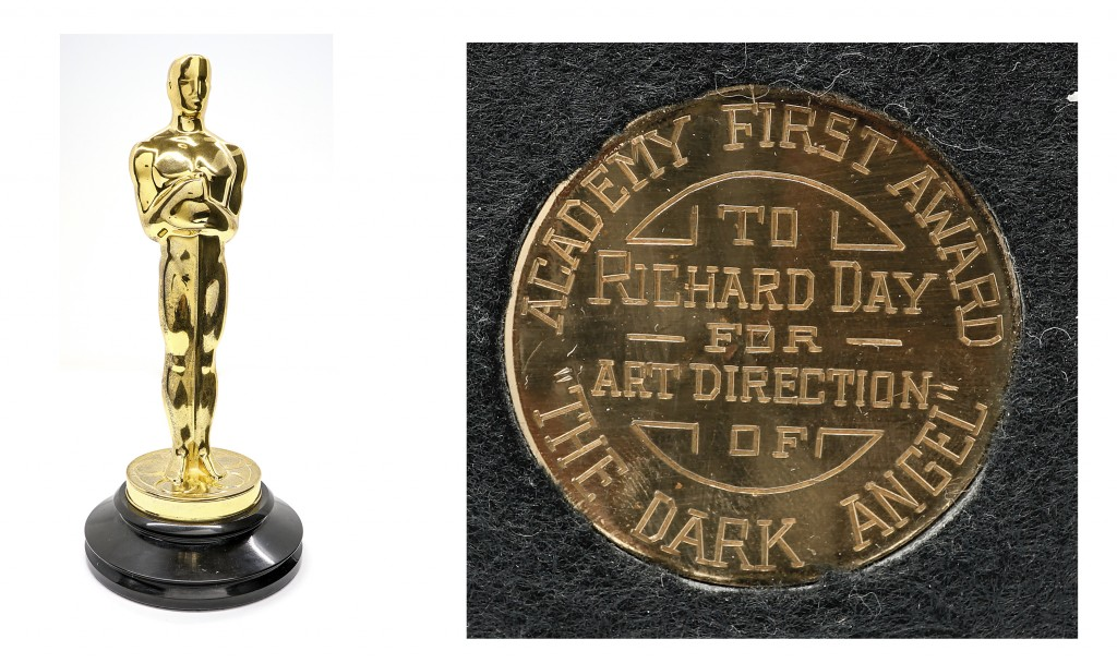 This combination of photos released by Grant Zahajko Auctions shows a 1936 Academy Award, left, and a view of its inscription given to art director Ri...