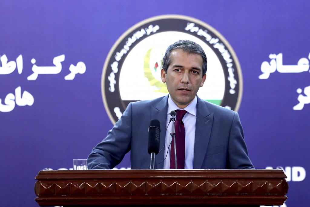 Afghan Presidential Spokesman Sediq Seddqi gives a press conference in Kabul, Afghanistan, Saturday, Sept. 14, 2019. Seddqi said that the priority for...