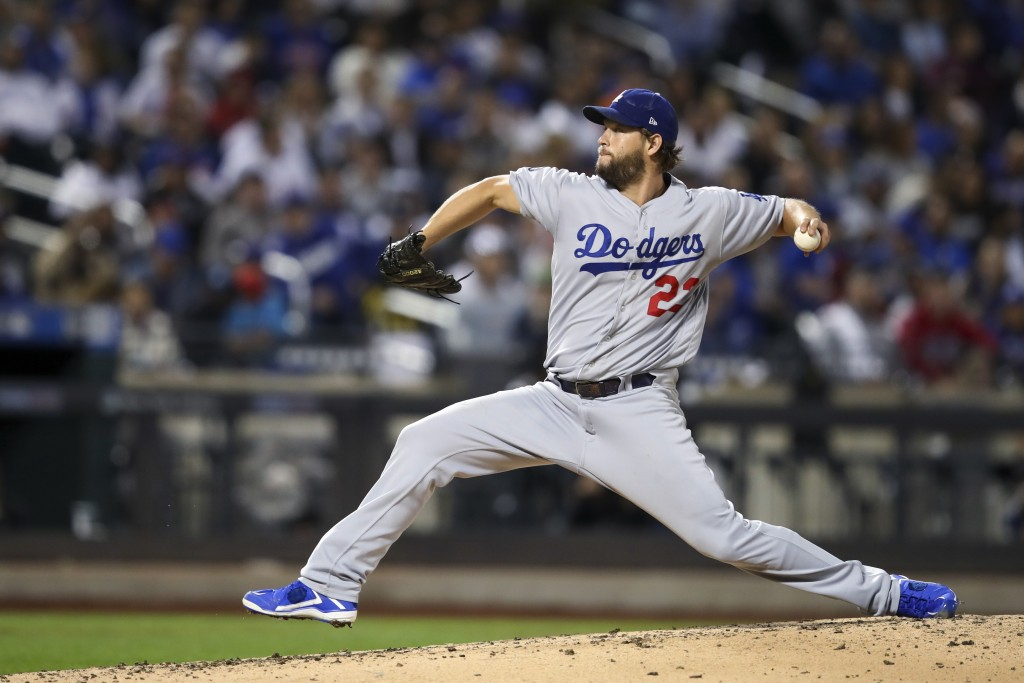 Los Angeles Dodgers starting pitcher Clayton Kershaw delivers against the New York Mets during the fourth inning of a baseball game Friday, Sept. 13, ...