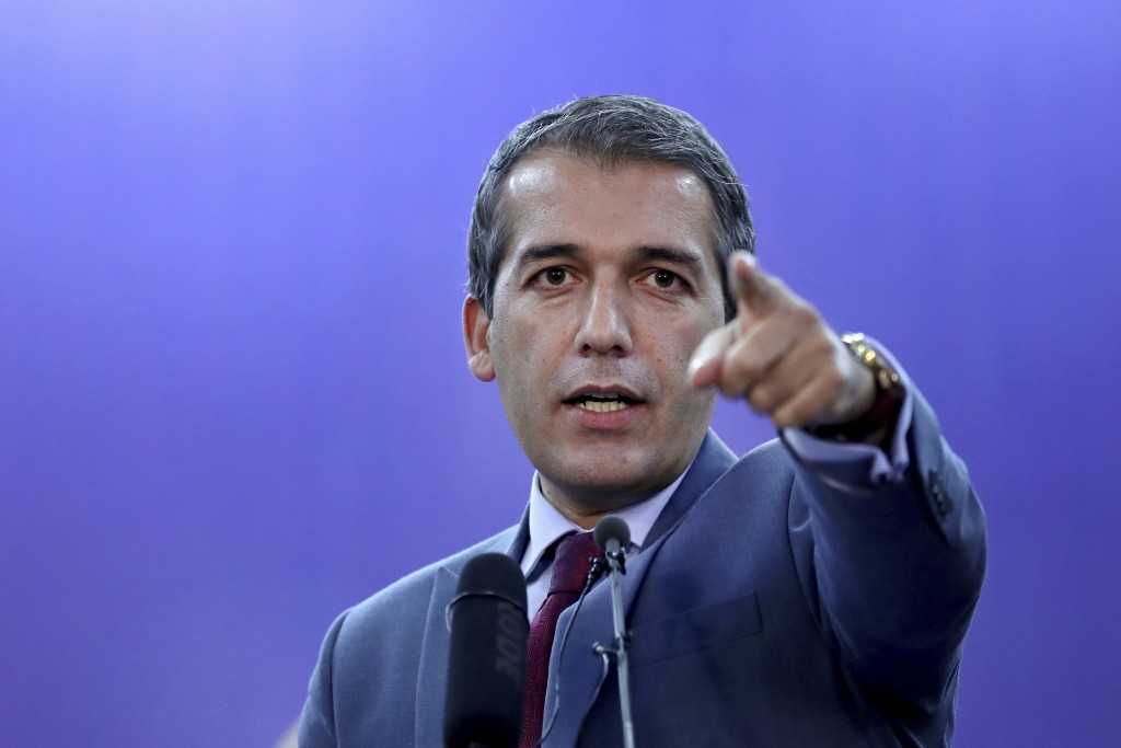 Afghan Presidential spokesman Sediq Seddqi gives a press conference in Kabul, Afghanistan, Saturday, Sept. 14, 2019. Seddqi said that the priority for