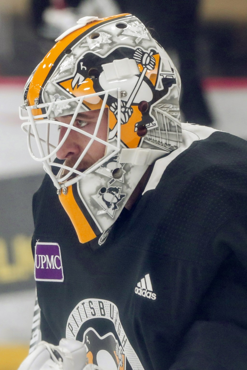 Pittsburgh Penguins goalie Matt Murray looks at the play ahead of him during NHL hockey practice on the team's first day of training camp, Friday, Sep