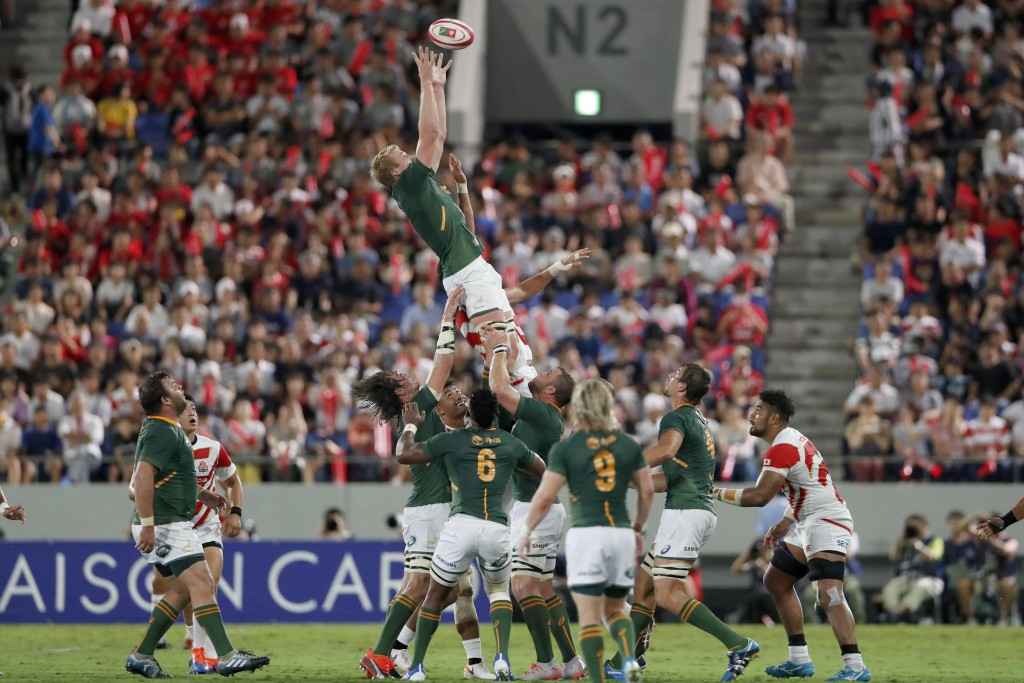 South Africa's Pieter-Steph du Toit grabs the ball during a line out against Japan for a rugby match at Kumagaya Rugby Stadium Friday, Sept. 6, 2019, ...