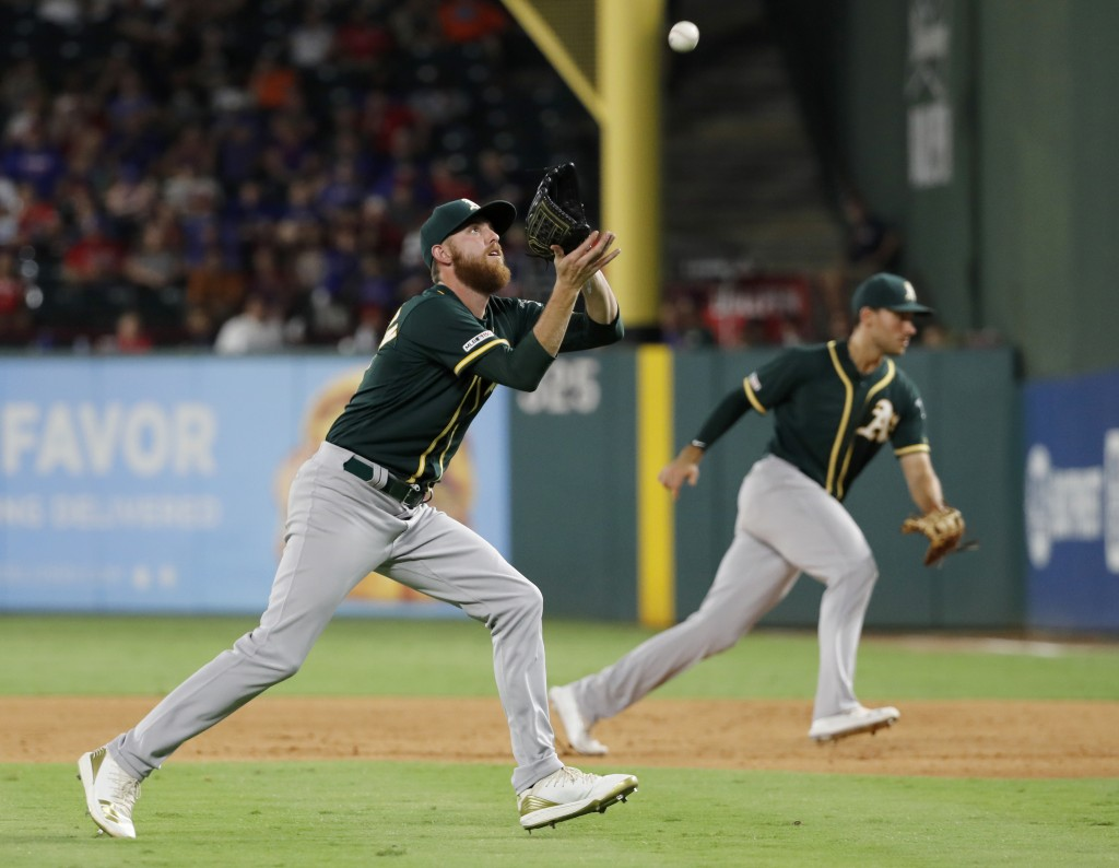Oakland Athletics relief pitcher Paul Blackburn, left, reaches to field a groundout by Texas Rangers' Rougned Odor as first baseman Matt Olson, rear, ...