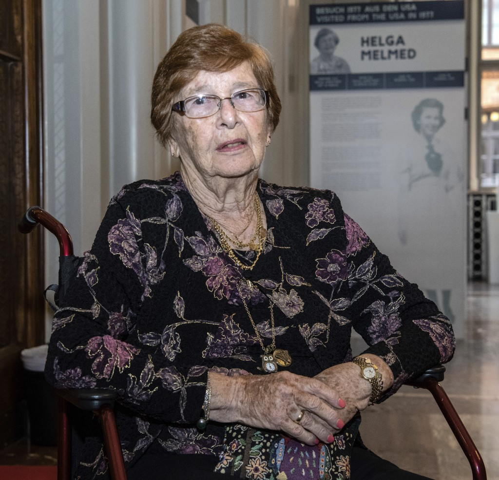 In this Wednesday Sept. 11, 2019 photo, Holocaust survivor Helga Melmed poses for a portrait during an event celebrating the 50th anniversary of a pro...