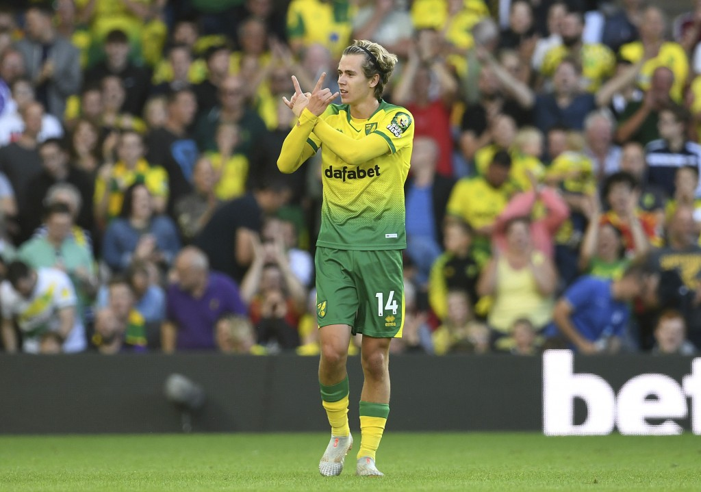Norwich City's Todd Cantwell celebrates scoring his side's second goal of the game during the English Premier League soccer match between Norwich City...