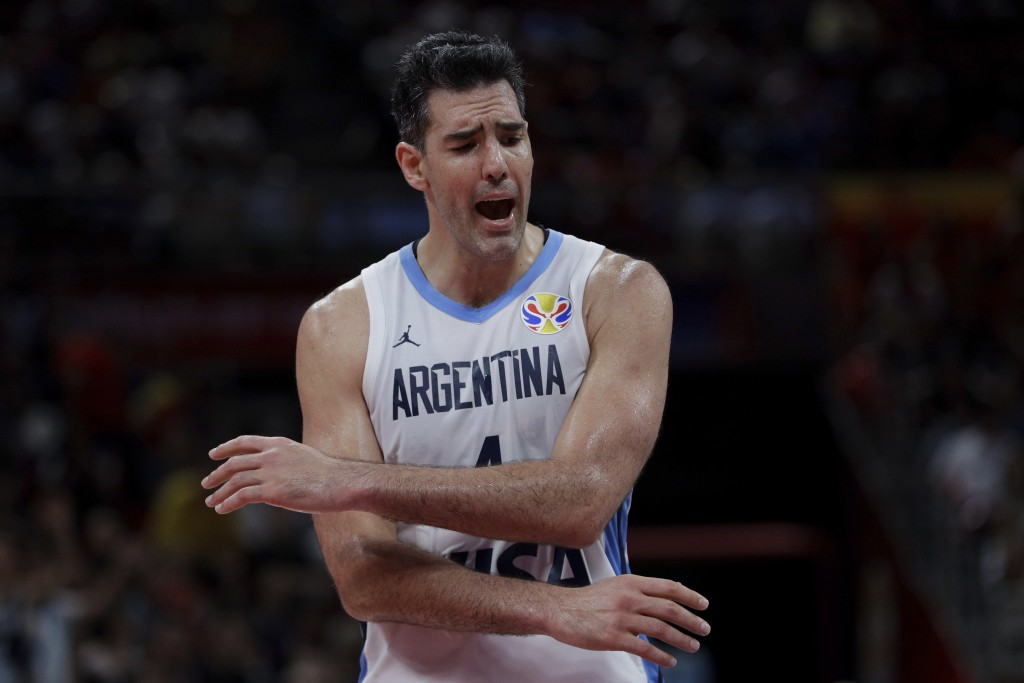 Argentina team captain Luis Scola reacts during their FIBA Basketball World Cup Final against Spain, at the Cadillac Arena in Beijing, Sunday, Sept. 1