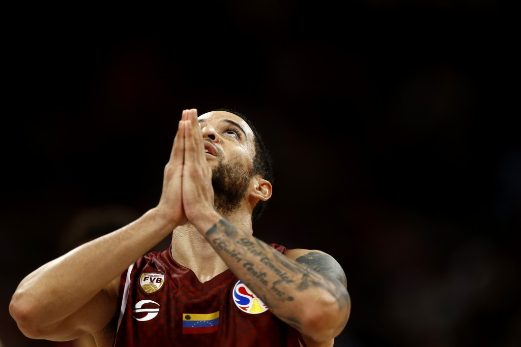 Heissler Guillent of Venezuela reacts during the final moments of their victory over China in their group phase game in the FIBA Basketball World Cup ...