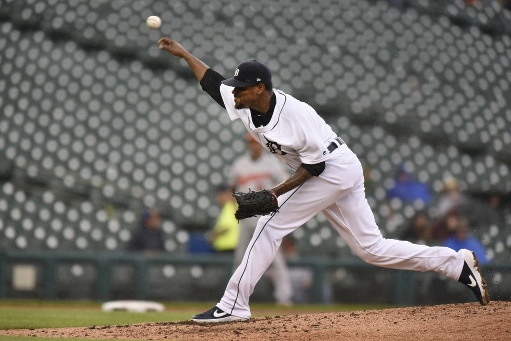 Detroit Tigers starting pitcher Edwin Jackson throws against the Baltimore Orioles in the fifth inning of a baseball game, Sunday, Sept. 15, 2019, in ...