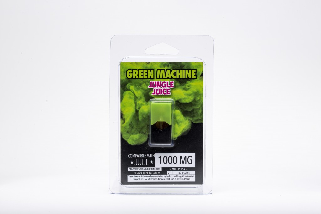"""This Wednesday, July 17, 2019, photo shows a Green Machine """"Jungle Juice"""" flavored CBD vape pod and its packaging in Los Angeles. As part of an invest..."""