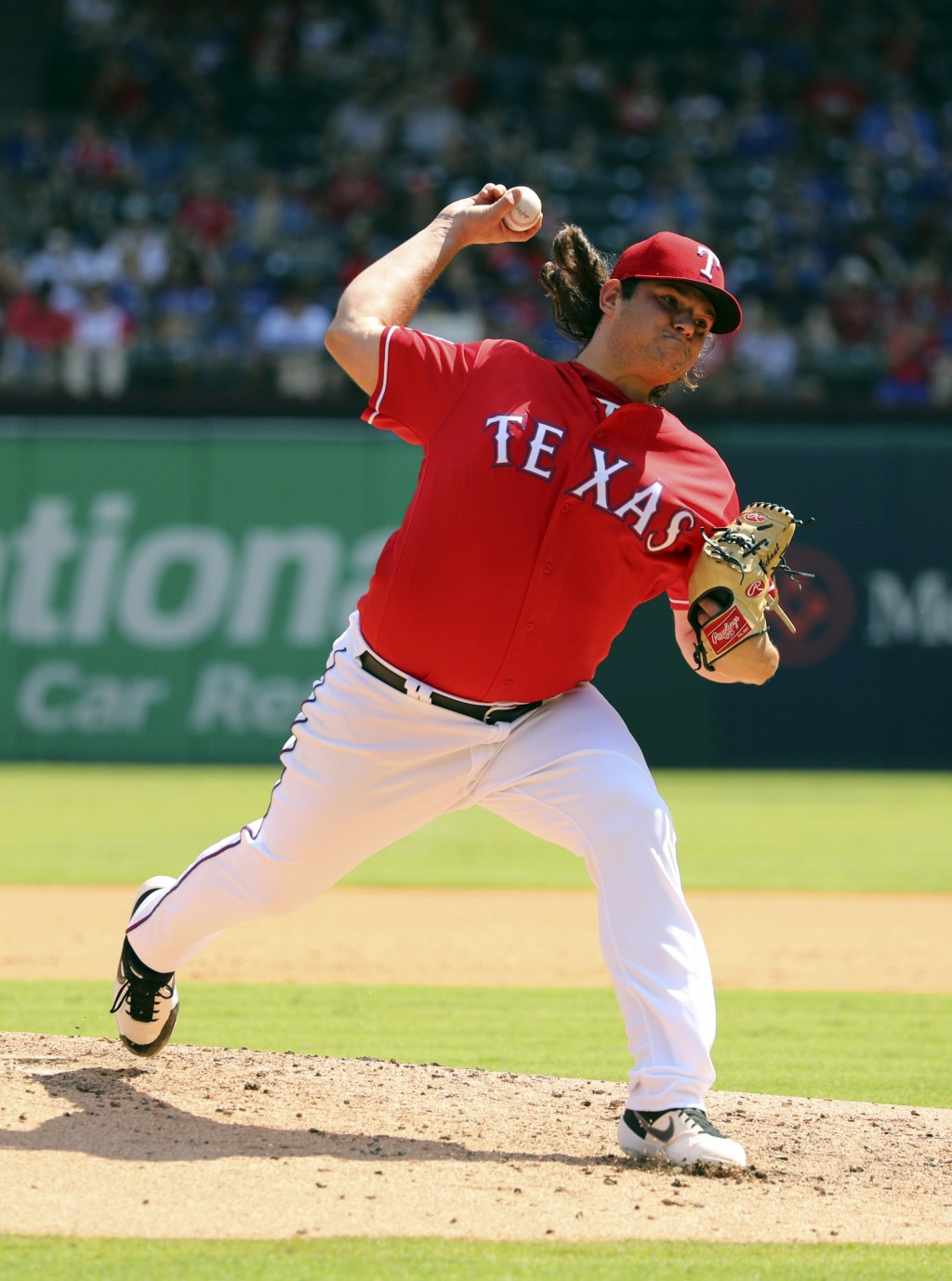 Texas Rangers relief pitcher Ian Gibaut (63) works the fourth inning against the Oakland Athletics in a baseball game Sunday, Sept. 15, 2019, in Arlin