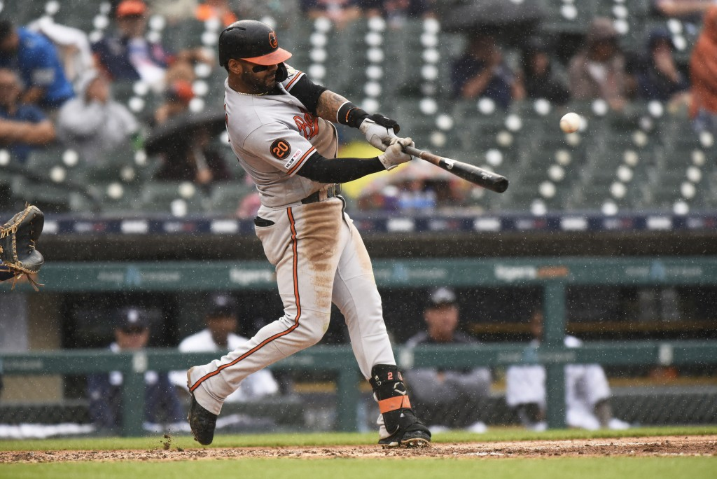 Baltimore Orioles' Jonathan Villar bats against the Detroit Tigers in the sixth inning of a baseball game Sunday, Sept. 15, 2019, in Detroit. (AP Phot...