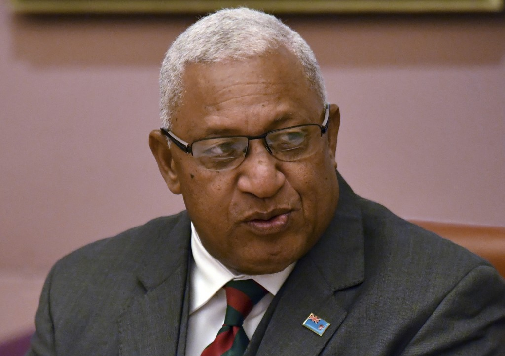Fiji's Prime Minister Voreqe Bainimarama sits down to bilateral meetings with Australian Prime Minister Scott Morrison at Parliament House in Canberra...