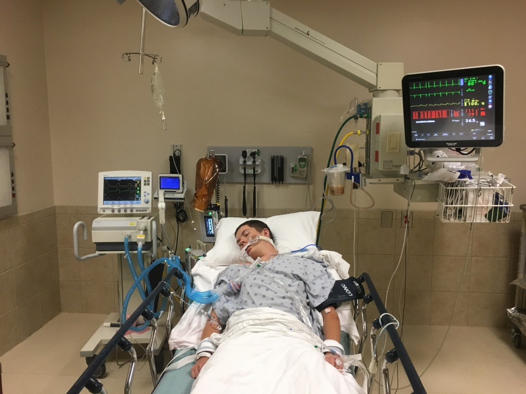 This May 2018, photo provided by Joseph Jenkins shows his son, Jay, in the emergency room of the Lexington Medical Center in Lexington, S.C. Jay Jenki...