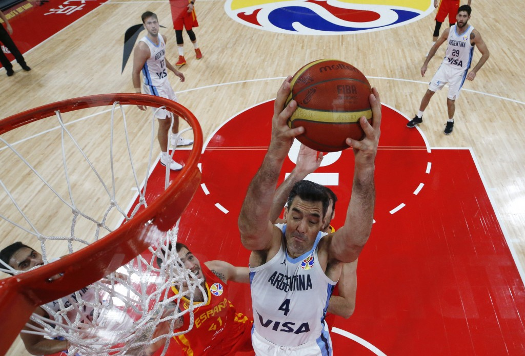 Luis Scola of Argentina in action during the Basketball World Cup 2019 finals match between Argentina and Spain in Beijing, China, Sunday Sept. 15, 20
