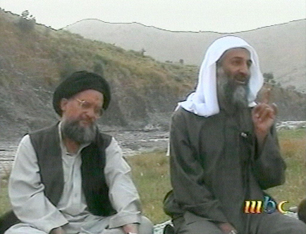 FILE - This file image broadcast April 17, 2002, by the London based Middle East Broacasting Corp, shows Osama bin Laden, right, and top deputy Ayman ...