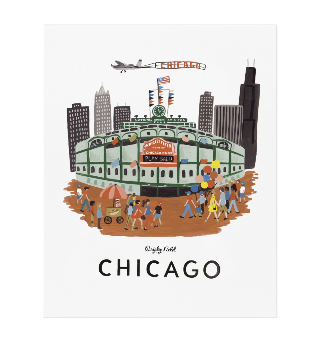 This photo provided by Rifle Paper Co. shows a gouache painting by Anna Bond of Wrigley Field in Chicago. The Winter Park Florida-based graphic design