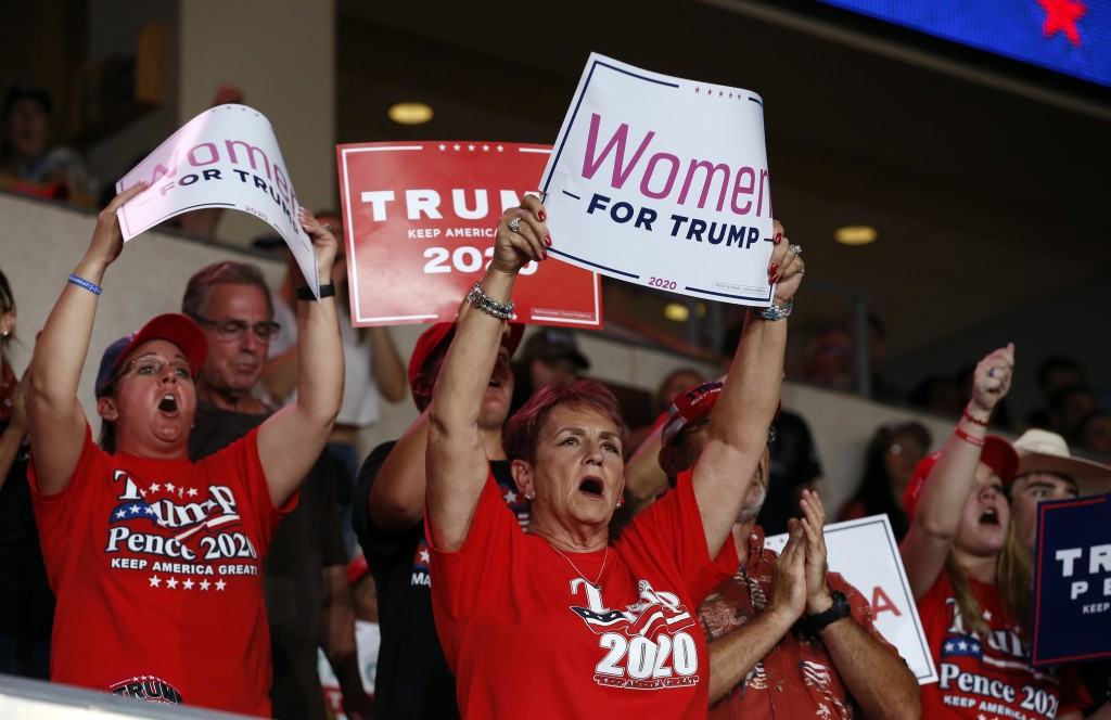 Supporters of President Donald Trump cheer during a campaign rally at the Santa Ana Star Center, Monday, Sept. 16, 2019, in Rio Rancho, N.M. (AP Photo...
