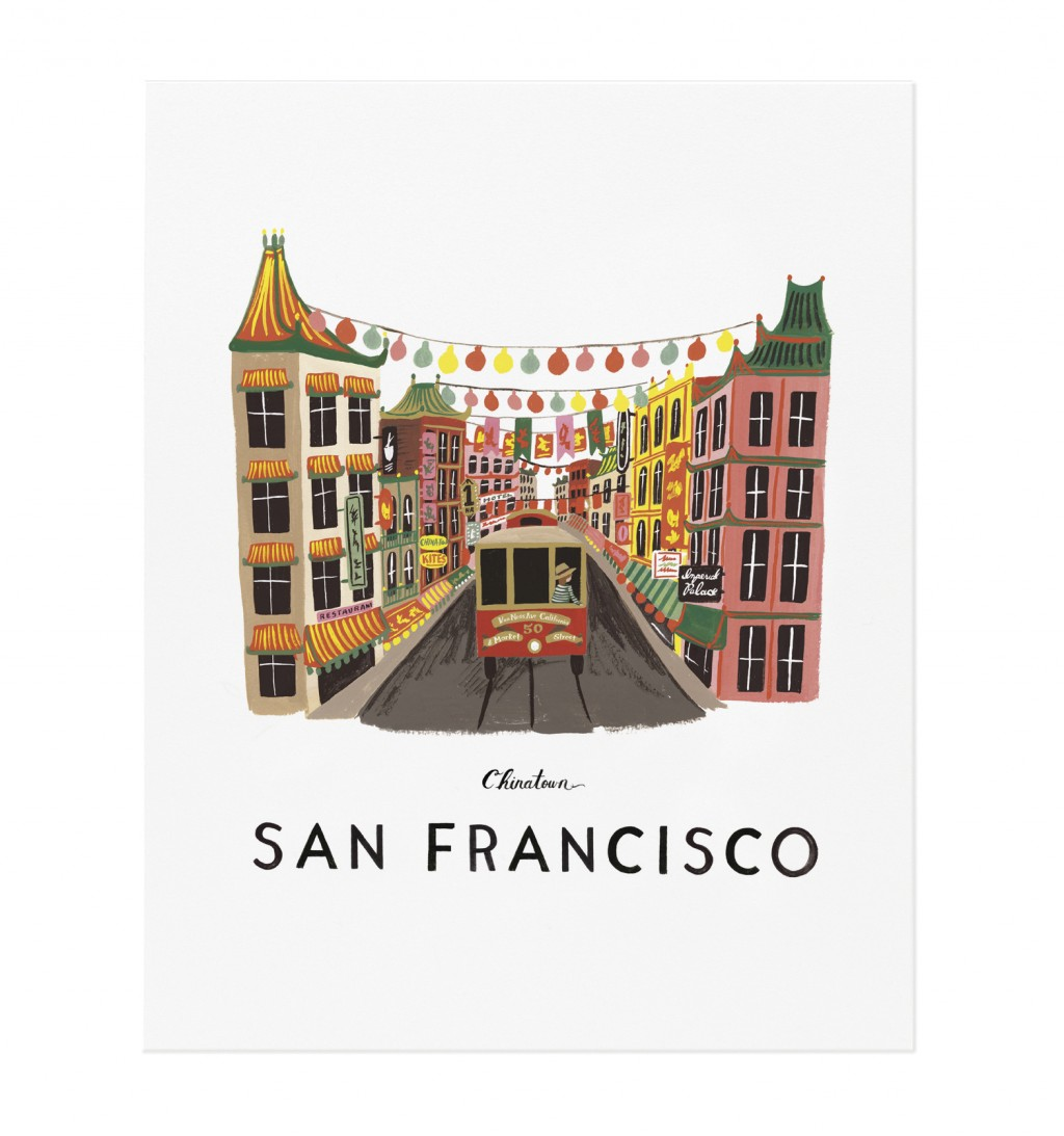 This photo provided by Rifle Paper Co. shows a gouache painting by Anna Bond of Chinatown in San Francisco. The Winter Park Florida-based graphic desi...
