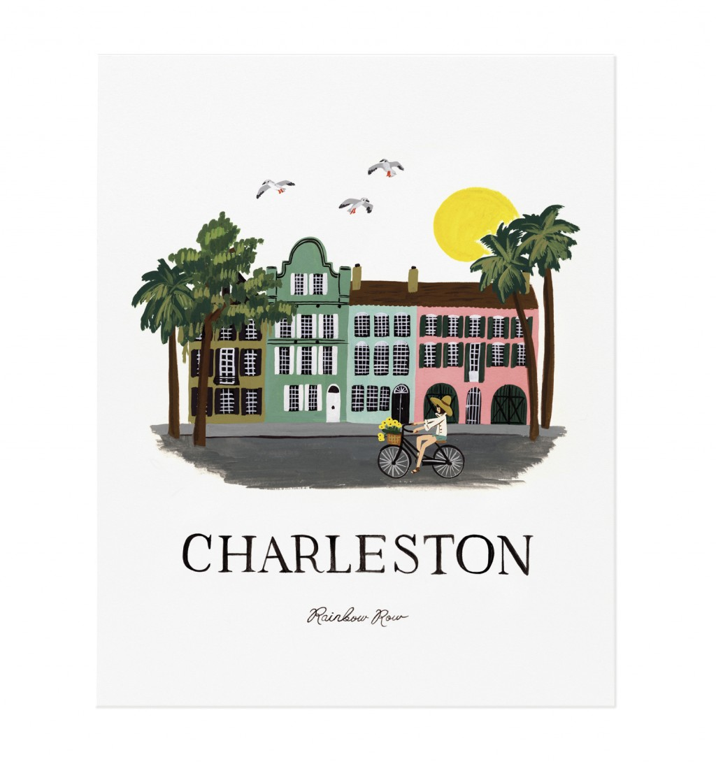 This photo provided by Rifle Paper Co. shows a gouache painting by Anna Bond of Rainbow Row in Charleston, S.C. The Winter Park Florida-based graphic ...