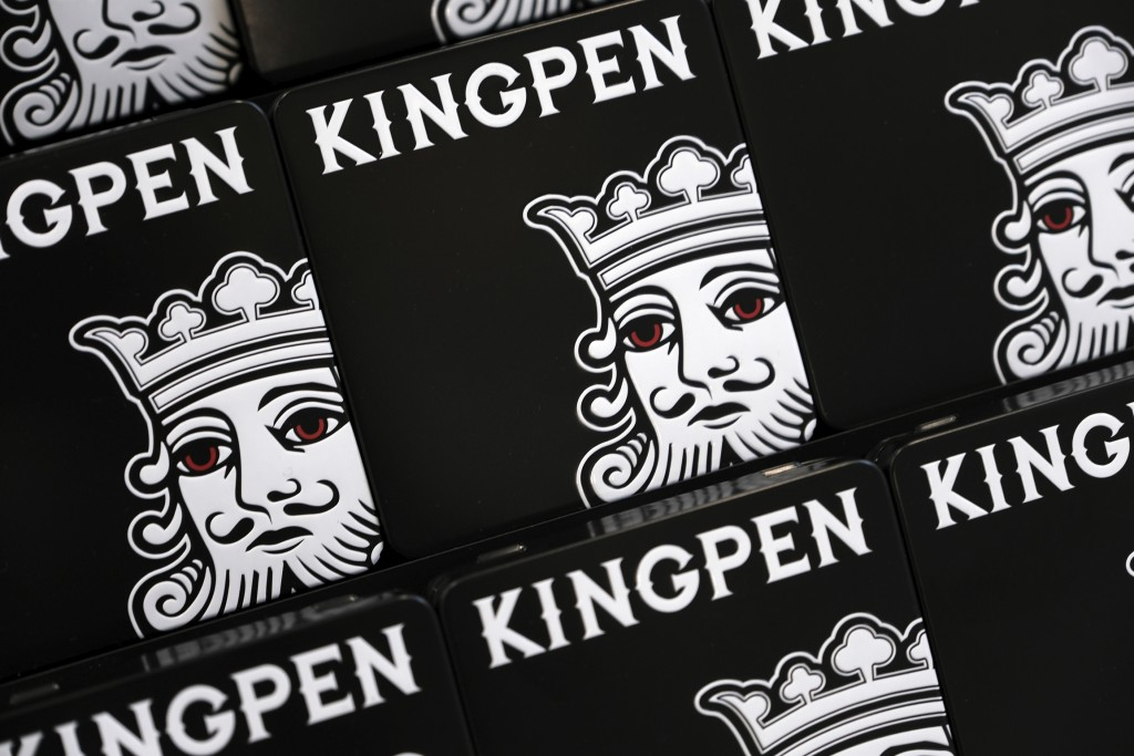 This Tuesday, Sept. 10, 2019, photo shows a display of the new packaging for the cannabis vape pen Kingpen seen at its parent company Loudpack, in Los...