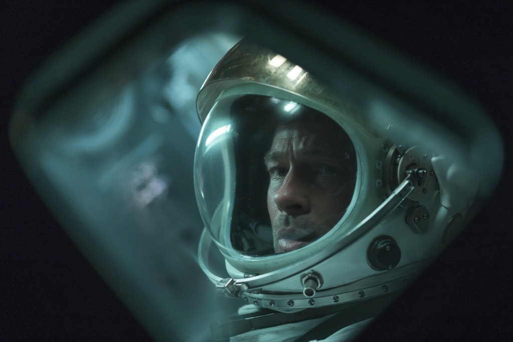 """This image released by 20th Century Fox shows Brad Pitt in a scene from """"Ad Astra,"""" in theaters on Sept. 20. (Francois Duhamel/20th Century Fox via AP..."""