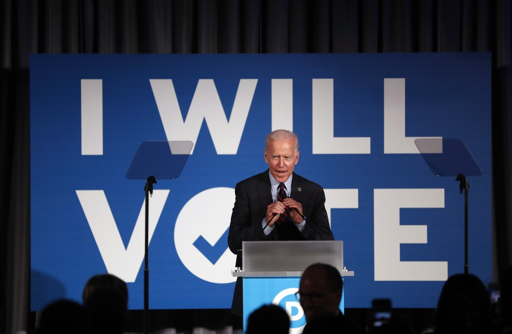 """FILE - In this June 6, 2019, file photo, Democratic presidential candidate former Vice President Joe Biden speaks during the """"I Will Vote"""" fundraising"""