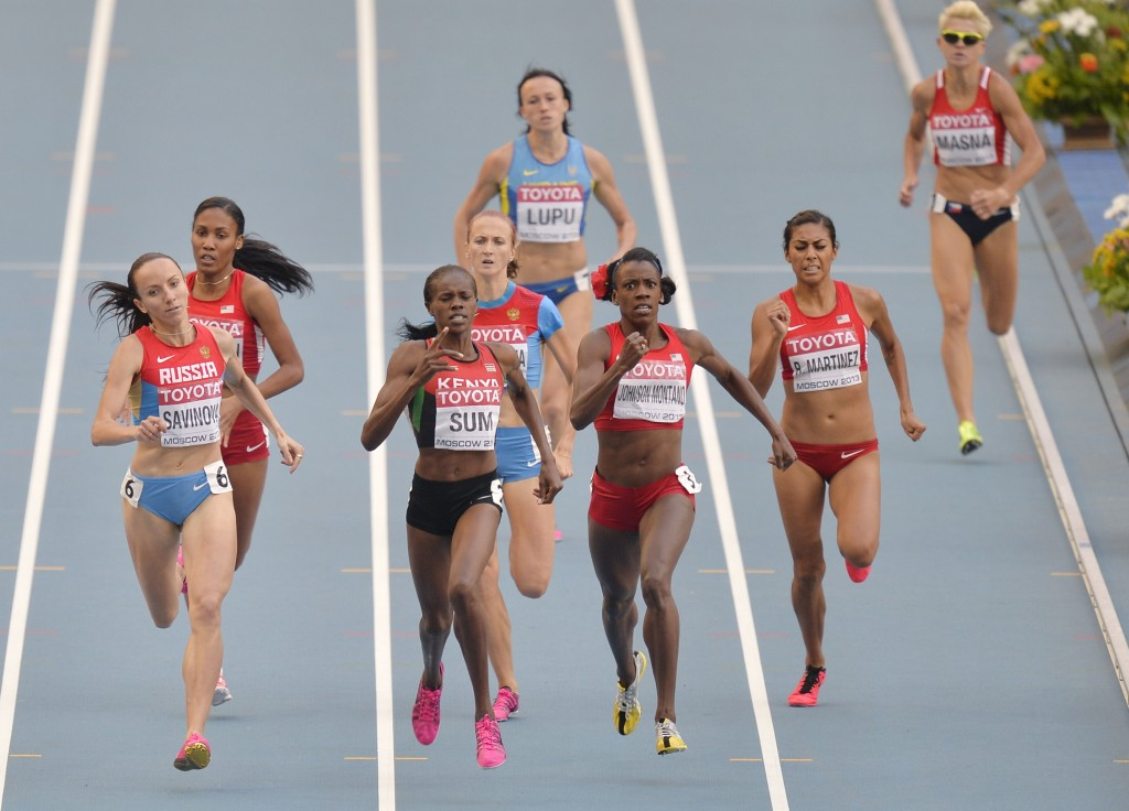 FILE _ In this Aug. 18, 2013, file photo, from front left to right, Russia's Mariya Savinova, Kenya's Eunice Jepkoech Sum, United States' Alysia Johns...