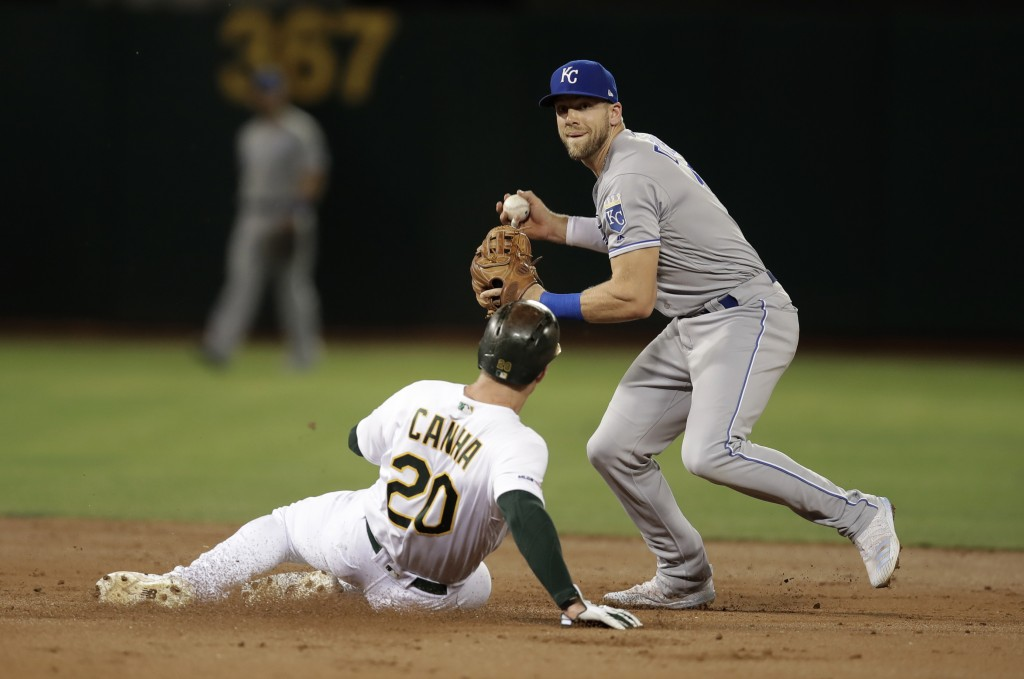 Kansas City Royals' Hunter Dozier, right, prepares to throw over Oakland Athletics' Mark Canha (20) during the second inning of a baseball game Tuesda...