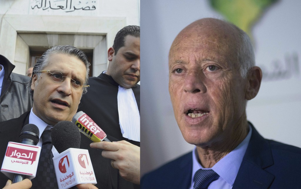 This combination photo shows Nabil Karoui speaking to press after his trial in Tunis, Jan. 23, 2012, left, and Kais Saied speaking to the media in Tun...