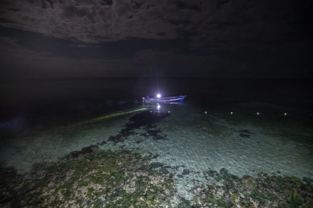 White River Fish Sanctuary wardens Mark Lobban, left, and Donald Anderson patrol the no-take zone for illegal fishermen under moonlight in Ocho Rios, ...