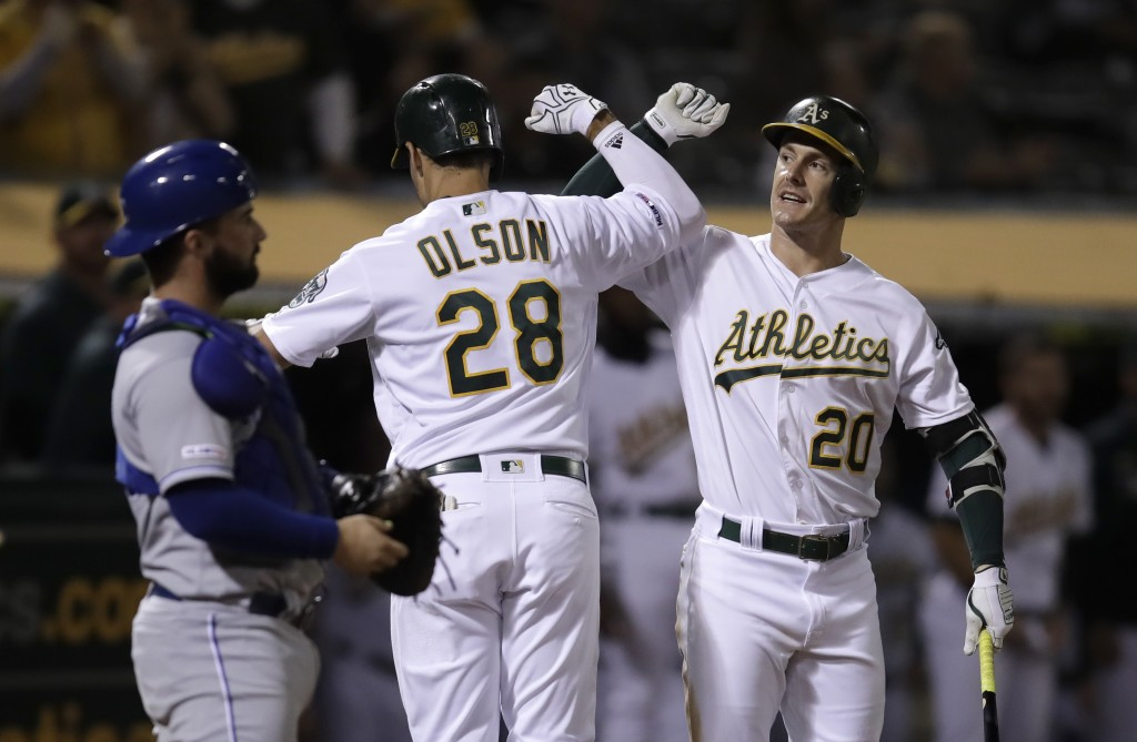 Oakland Athletics' Matt Olson (28) celebrates with Mark Canha, right, after hitting a home run off Kansas City Royals' Jorge Lopez during the seventh ...