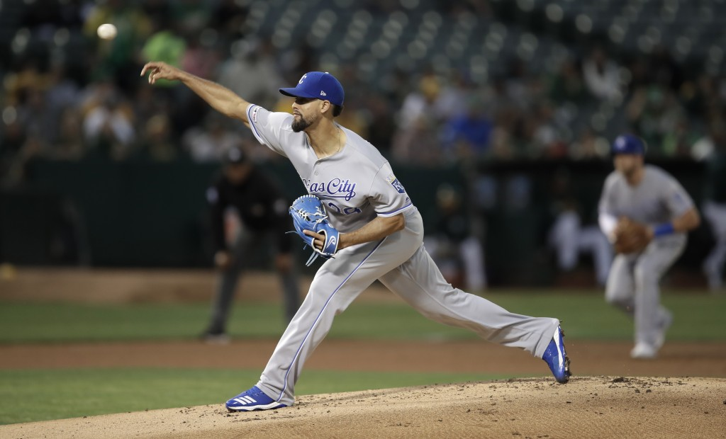 Kansas City Royals pitcher Jorge Lopez works against the Oakland Athletics during the first inning of a baseball game Tuesday, Sept. 17, 2019, in Oakl...