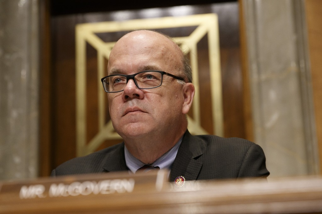 Rep. Jim McGovern, D-Mass., chair of the bipartisan Congressional Executive Commission on China (CECC), listens during a congressional hearing to exam...