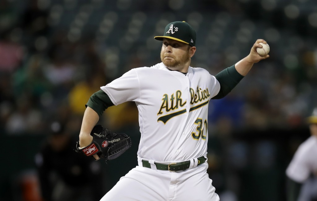 Oakland Athletics pitcher Brett Anderson works against the Kansas City Royals during the first inning of a baseball game Tuesday, Sept. 17, 2019, in O...