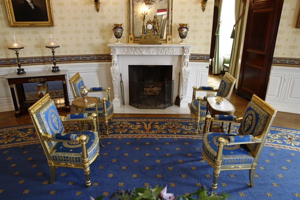 This Sept. 17, 2019, photo shows restored furniture in the Blue Room of the White House in Washington. The restoration was part of the improvement pro...