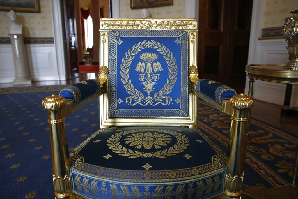 This Sept. 17, 2019, photo shows a restored chair in the Blue Room of the White House in Washington. The restoration was part of the improvement proje...