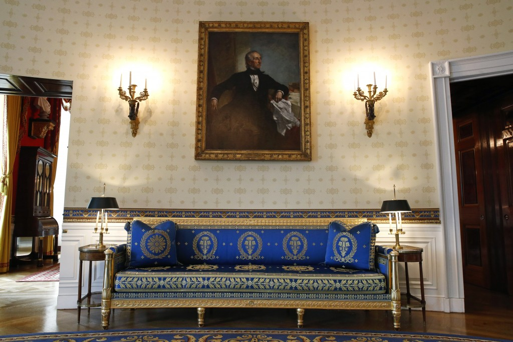 This Sept. 17, 2019, photo shows a piece of restored furniture in the Blue Room of the White House in Washington. The restoration was part of the impr...