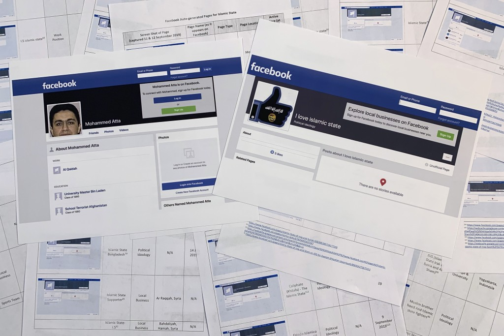 Pages from a confidential whistleblower's report obtained by The Associated Press, along with two printed Facebook pages that were active on Tuesday, ...