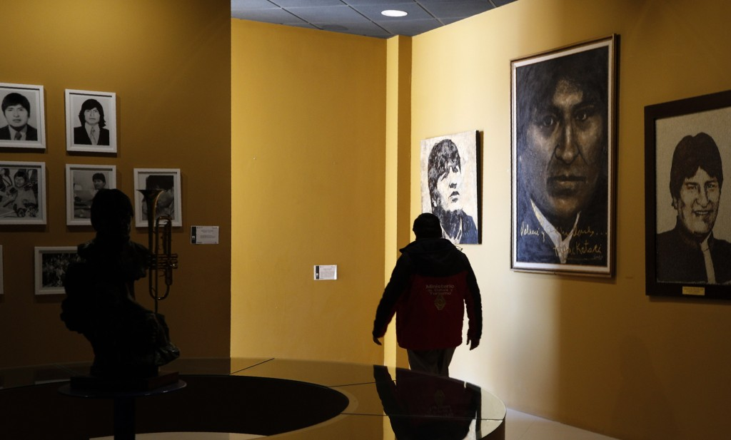 In this Sept. 13, 2019 photo, photos of Bolivia's President Eva Morales adorn the walls at the Democratic and Cultural Revolution Museum in Orinoca, B